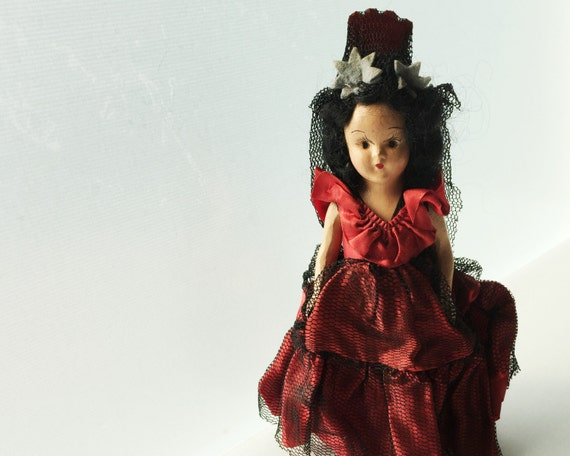 Vintage Composition Doll - Black Haired Spanish Doll in Red and Black Dress - Carmen Character
