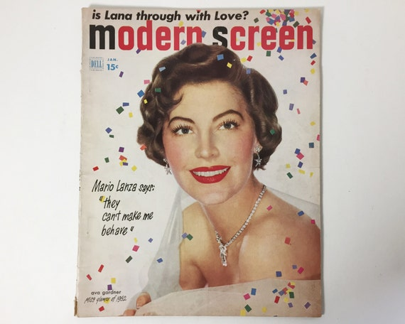 Modern Screen Magazine January 1952 - Cover Ava Gardner - Vintage Movie Magazine - Inside Debbie Reynolds, John Wayne & June Haver