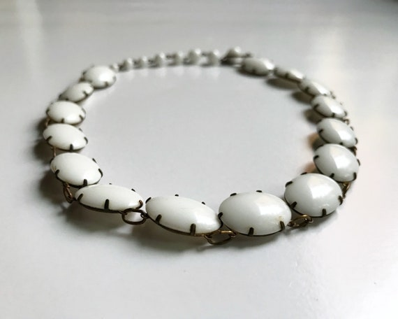 M. West Germany Milk Glass Bead Choker Necklace