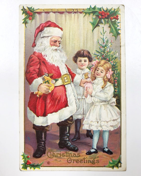 Antique Christmas Postcard - Santa Claus or Father Christmas Handing Out Presents - Embossed with Gold Accents