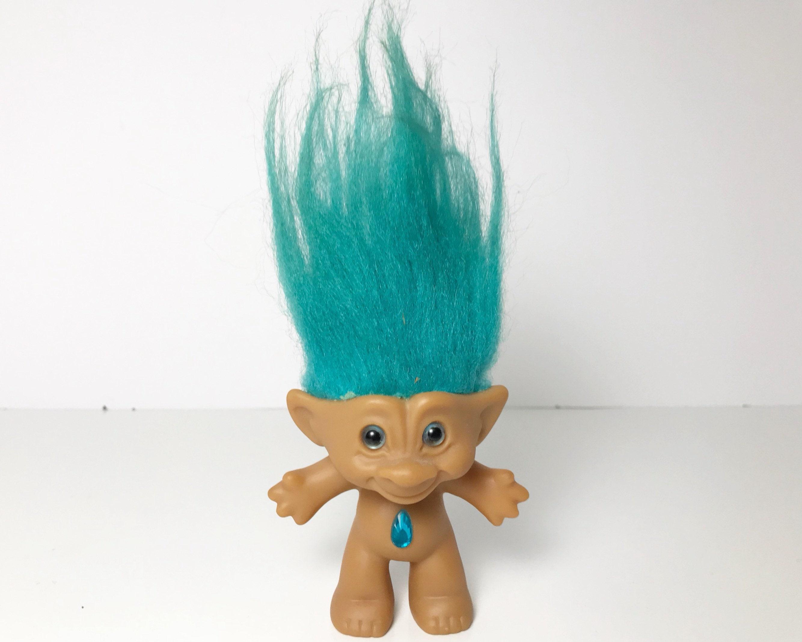 Vintage Treasure Troll Doll Ace Novelty Co Inc Aquamarine Hair With Teardrop Aqua Wishstone