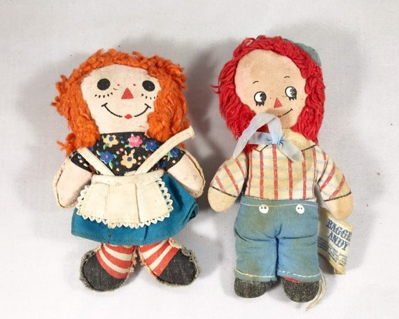 Vintage Knickerbocker Raggedy Andy & Miniature Raggedy Ann Dolls