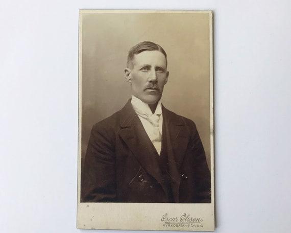 Antique Carte de Visite Swedish CDV Photograph of Victorian Man from Kyrkogatan, Sweden