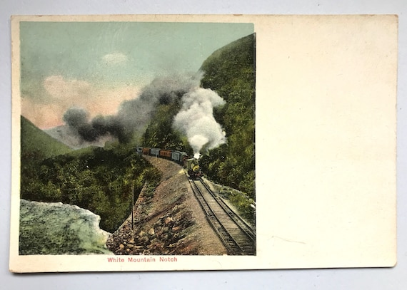 Antique New Hampshire Postcard - Steam Engine in White Mountain Notch - Unused Divided Back