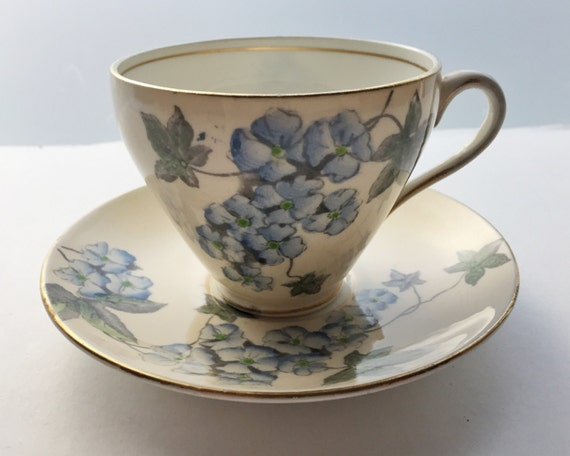Vintage E.B. Foley Bone China Teacup and Saucer - Attractive Buff with Blue Flowers and Ivy Tea Cup from the 1930s