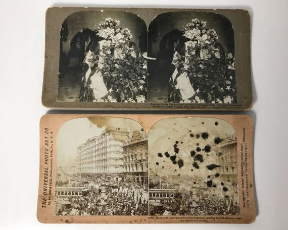 Universal Photo Art Company 2 Stereoviews - San Francisco during McKinley's Visit & President McKinley's Tomb - Stereo Cards - C. H. Graves