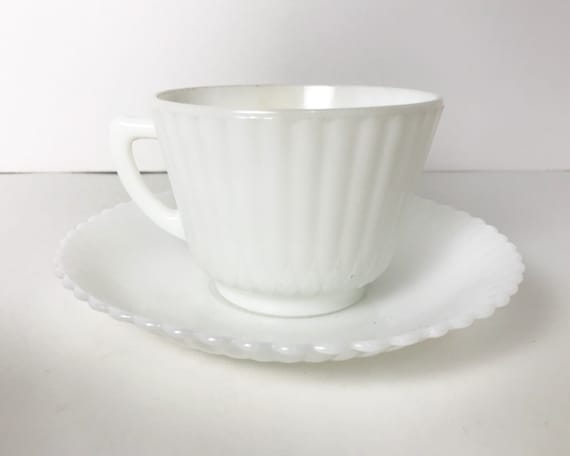 Vintage Depression Glass - Monax Petalware Teacup and Saucer by Macbeth Evans - White Colored Opal Milk Glass