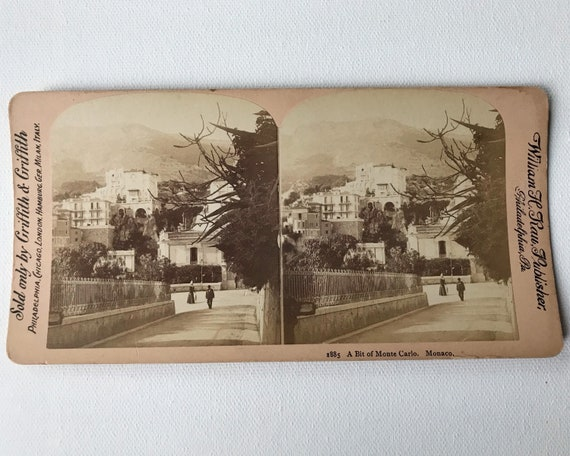 """Antique Stereoview """"A Bit of Monte Carlo"""" # 1885 Griffith & Griffith Stereoview, William H. Rau, Photographer"""