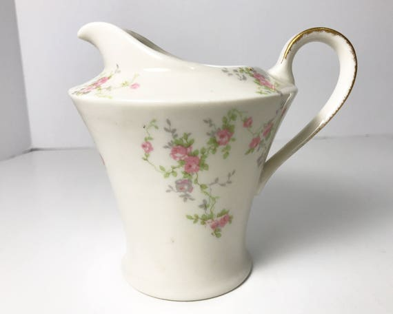 Vintage Theodore Haviland Pink Spray Creamer - Made in New York - Pretty Pink Roses - Brushed Gold Trim On Handle