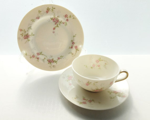 Theodore Haviland Touraine Teacup Saucer and Bread & Butter Plate Trio - Made in New York - Pink Roses