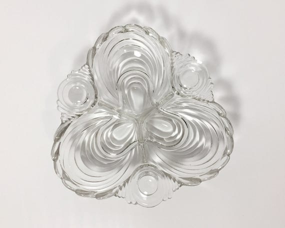 Vintage Cambridge Glass 3 Part Relish Dish or Serving Bowl - Popular Caprice Pattern in Clear or Crystal - Elegant or Depression Glass