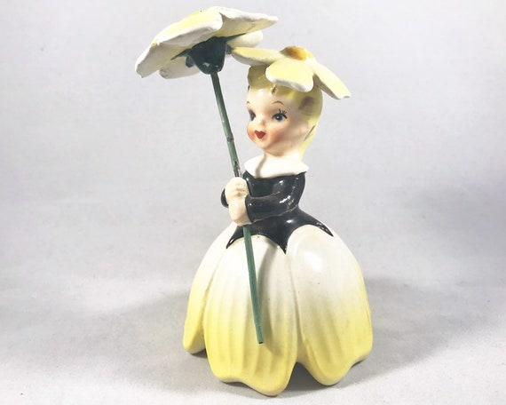 Napco Flower Girl with Flower Umbrella - Pretty Yellow Flowers