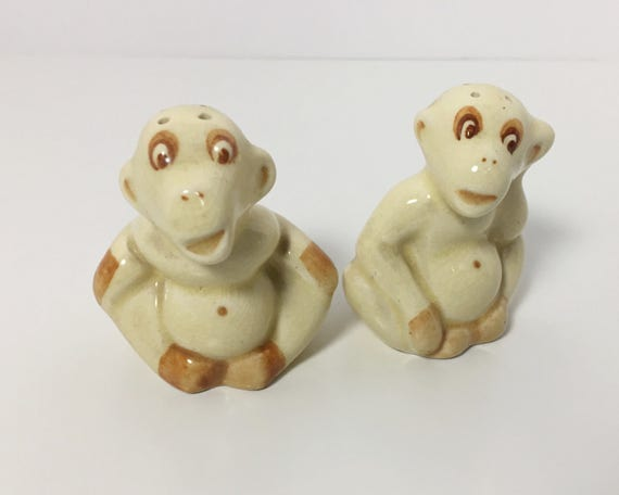 Vintage Novelty Chimpanzee or Monkey Salt and Pepper Shakers - Yellow Monkeys - Funny Ape Shakers