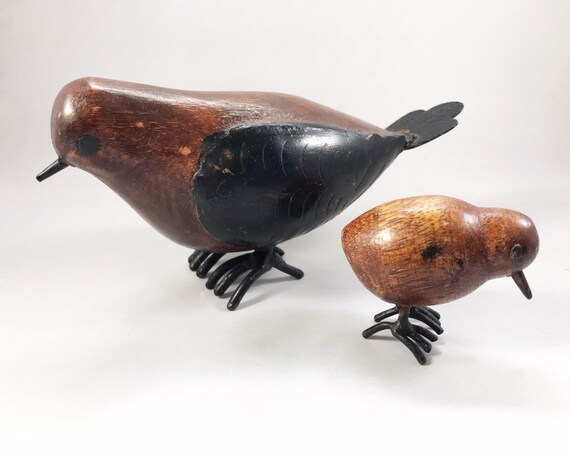 Vintage Mid Century Folk Art Wood Carving of Birds - Dove and Chick