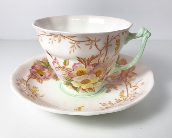 Vintage Old Royal Bone China Teacup and Saucer - Sampson Smith Ltd - Stoke-on-Trent - Delicate Shaded Wild Rose Pattern - No. 7818