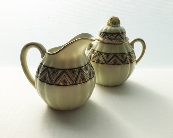 Antique Art Deco Style Sugar Bowl and Creamer - Kobe Ware Made By R. Kohara Co. - Beautiful Hand Painted Chevron Pattern with Gold