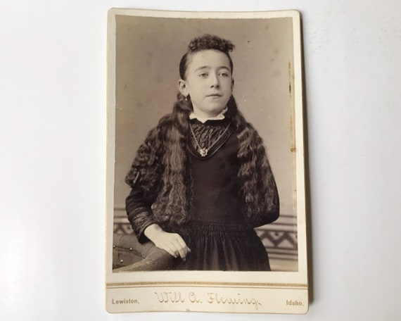 Antique Cabinet Card of Young Victorian Girl by Will A. Fleming, Photographer, Lewiston, Idaho