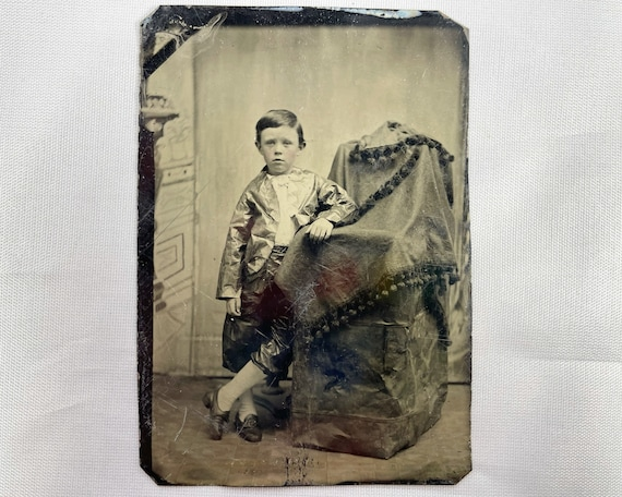 Antique Tintype Photograph of a Young Victorian Boy n a Shiny Suit