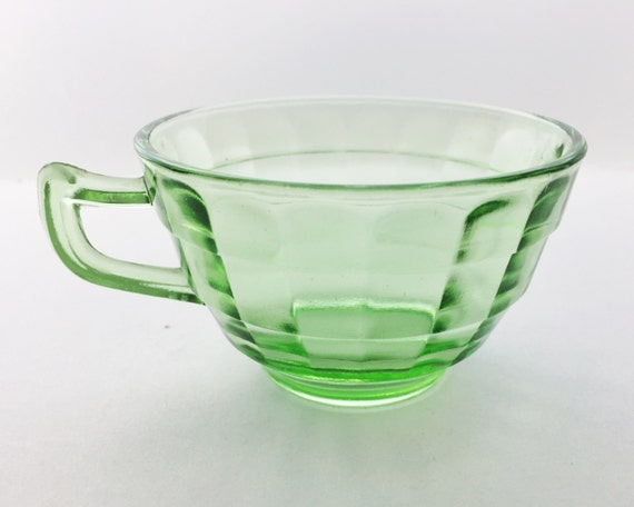 Anchor Hocking Block Optic Green Cup - Vintage Depression Glass - Uranium or Vaseline Glass - Glows in UV Light - Pointed Handle