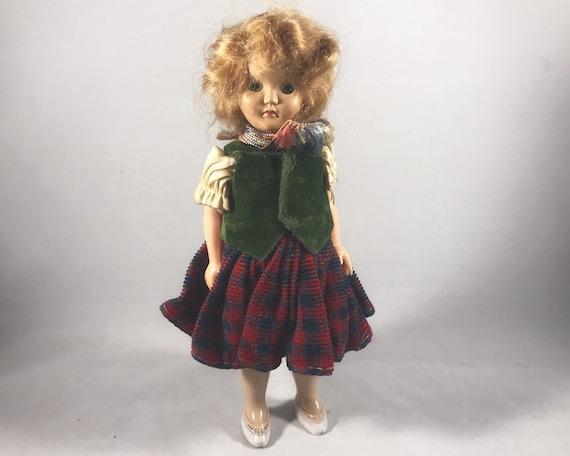Vintage Hard Plastic Marcie Doll - Irish or Scottish Dress