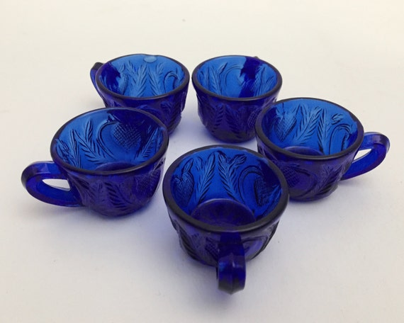 Vintage Mosser Glass Cobalt Blue Mini Children's Inverted Strawberry Punch Cups - Set of Five - Super Cute Gorgeous Blue