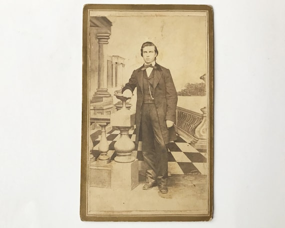 Antique Carte de Visite CDV Photograph of Handsome Young Victorian Man, Springfield, Illinois