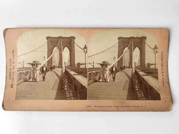 Antique B. W. Kilburn Stereoview - Entrance to the Great Brooklyn Bridge - James M. Davis - Copyright 1903
