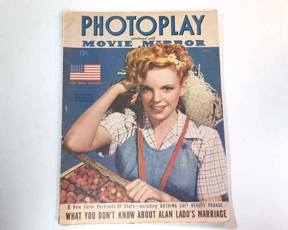 Photoplay July 1943 - Cover Judy Garland - Vintage Movie Magazine - Inside Alan Ladd, Lucille Ball, Barbara Stanwyck, Anne Sheridan