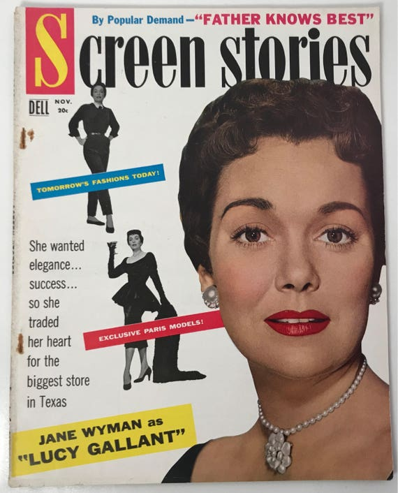 Screen Stories Magazine November 1955 - Cover Jane Wyman - Vintage Movie Magazine - Inside Joan Crawford, Jane Russel, Edward G. Robinson