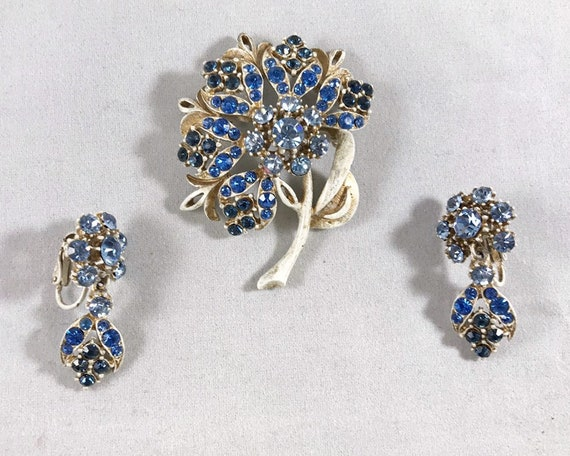 Vintage Florenza Jewelry Brooch and Earring Set - Signed White Over Gold Tone with Blue Rhinestones