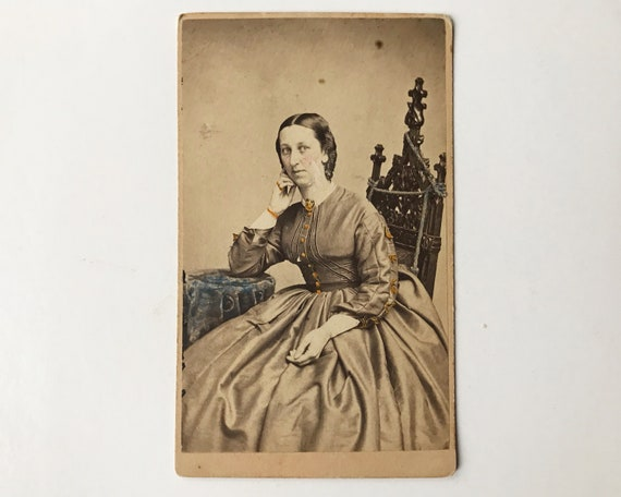 Antique Carte de Visite CDV Photograph of Victorian Woman, Hand Tinted, New York