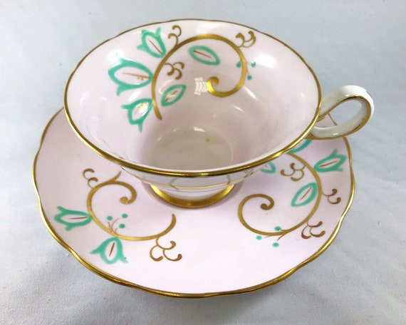 Vintage Jackson & Gosling Grosvenor Bone China Teacup - Pink and Pistachio Mid Century