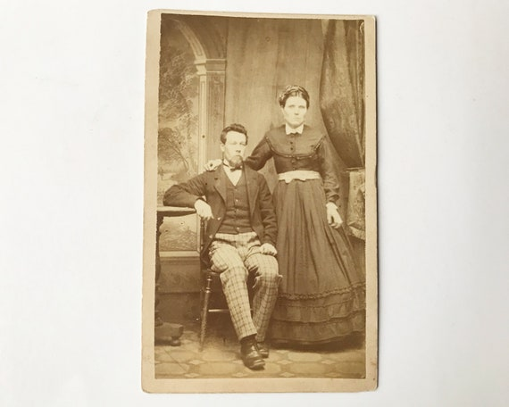 Antique Carte de Visite CDV Photograph of Victorian Couple, Belfast, Maine
