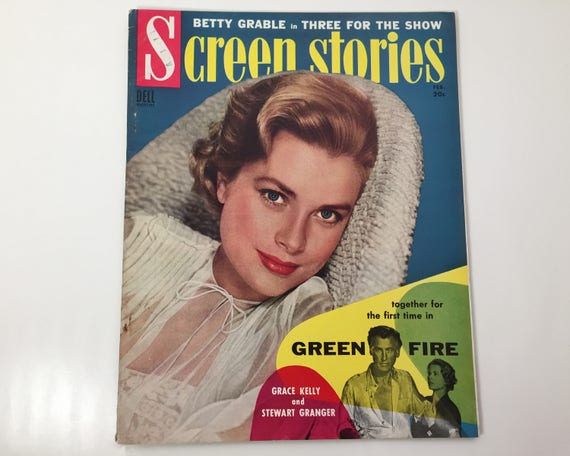 Screen Stories Magazine February 1955 - Cover Grace Kelly - Vintage Movie Magazine - Inside Paul Newman, Jane Russell, Tyrone Power