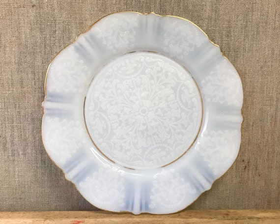 Depression Glass American Sweetheart in Monax Salad Plate with Mold-Etched Center by Macbeth Evans - White Opalescent Glass