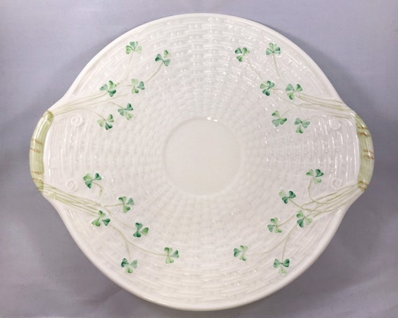 Vintage Ireland Belleek Basket Weave Shamrock Cake Plate with Closed Handles 7th Mark