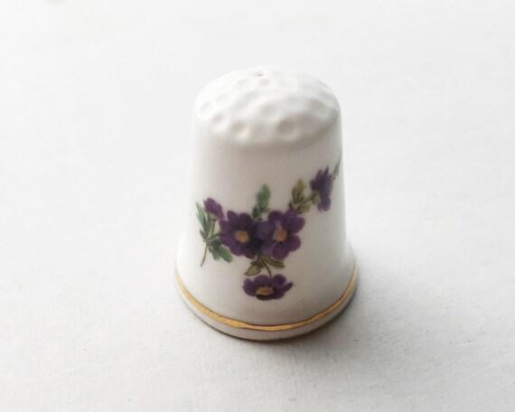 Fine Bone China Thimble Made in England - Purple Flower Pattern