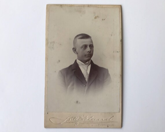 Antique Carte de Visite Swedish CDV Photograph of Young Late Victorian Man, Hudiksvall, Sweden