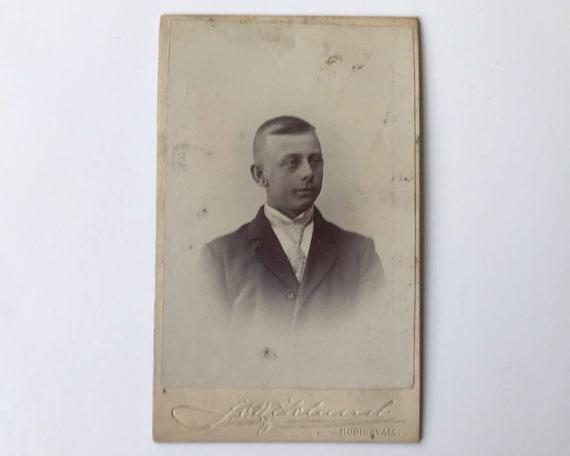 Antique Carte de Visite Swedish CDV Photograph of Young Victorian Man, Hudiksvall, Sweden