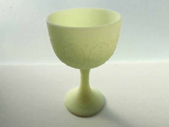 Fenton Glass Persian Medallion Goblet - Vintage Custard Glass Goblet - Glows Green with Black Light - Uranium - Satin Finish