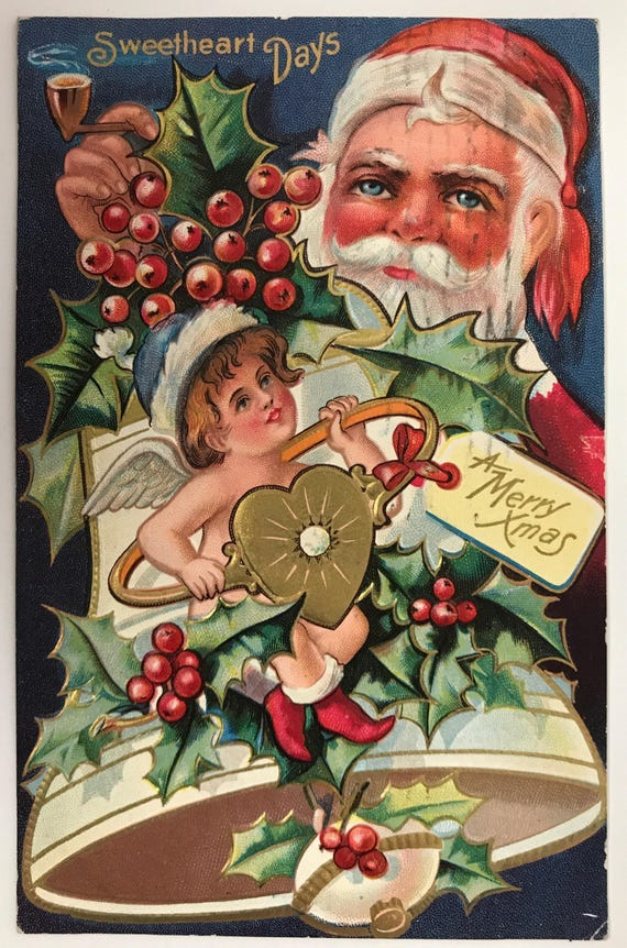 Antique Santa Claus Postcard - Merry Christmas - Sweetheart Days - Embossed Holiday Post Card - Divided Back - Sweetheart Series No. 1