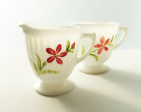 Vintage Depression Glass - Florette Petalware Sugar and Creamer by Macbeth Evans - Monax White Opal Glass