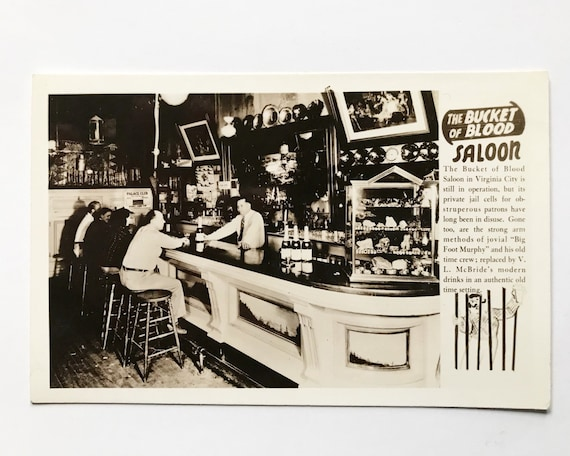 Vintage EKC Real Photo Post Card - Photograph of The Bucket of Blood Saloon - Virginia City - RPPC