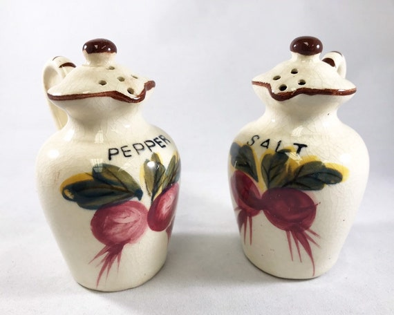 For the Rustic Kitchen - Little Pitcher Salt and Pepper with Radishes or Beets - Made in Japan Novelty Shakers