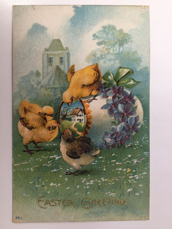 Antique Easter Greeting Post Card - Holiday - Embossed Full Color - Unused - Divided Back - Vintage Postcard