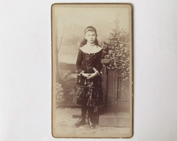 Antique Carte de Visite CDV Photograph of Victorian Girl Wearing Unusual Dress
