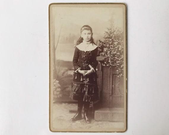 Antique Carte de Visite CDV Photograph of Victorian Girl Wearing Unusual Dress, Springfield, Massachusetts
