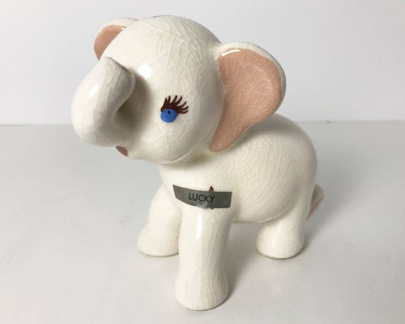 DeLee Art Hand Painted Kitsch Lucky Elephant Figurine - Mid Century Modern - Charming - Vintage California Pottery