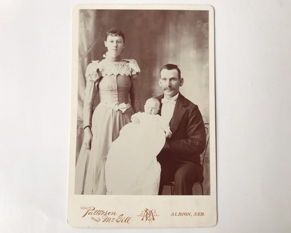Antique Cabinet Card of Young Victorian Family, Husband, Wife and Baby - Albion, Nebraska