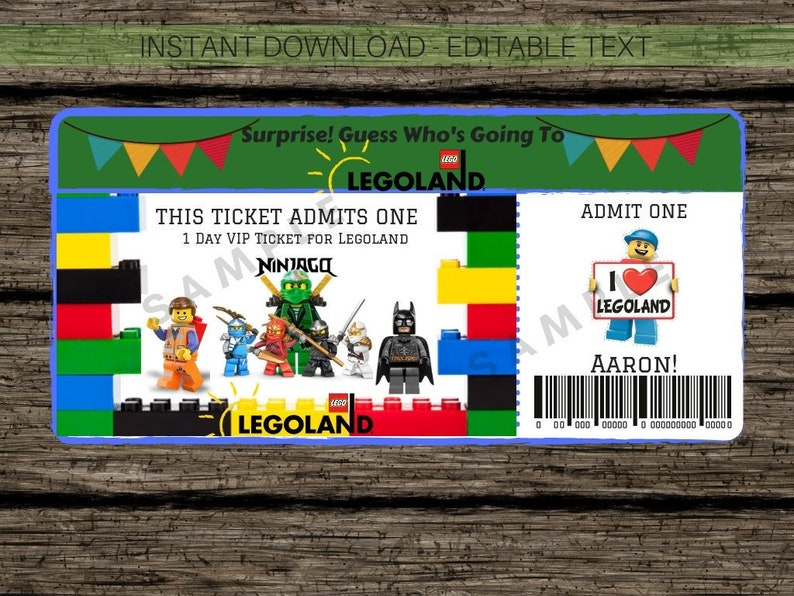 picture regarding Free Printable Pretend Disney Tickets titled LEGOLAND Bogus Ticket- Instantaneous Down load Basically Fill and Print